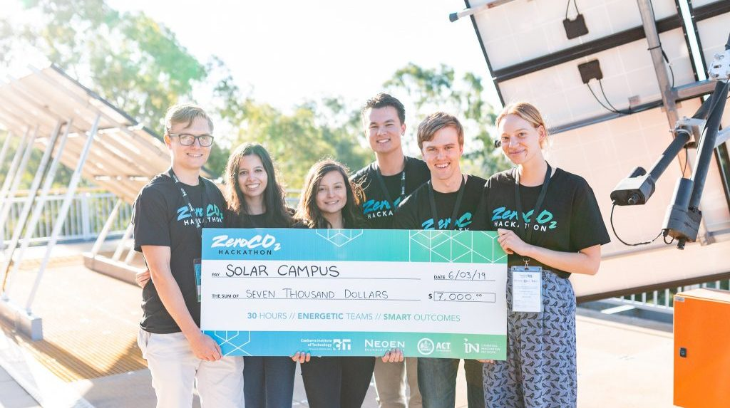 Winners of the ZeroCo2 Hackathon team Solar Campus