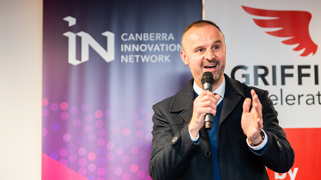 Chief Minister Andrew Barr speaking at the Canberra Innovation Network