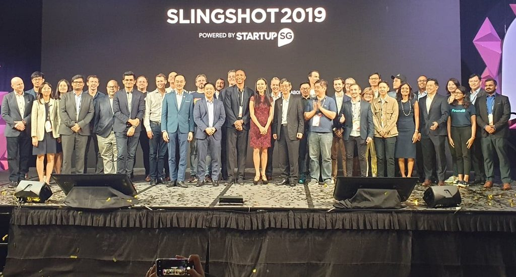 The winners of Slingshot 2019 on stage