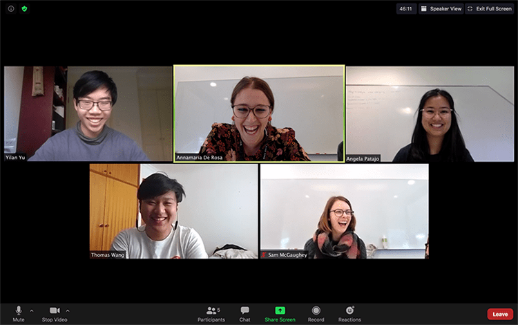 Screenshot from the 2020 Hackathon (pictured from left to right: student Yilan Yu, Dr Annamaria De Rosa, student Angela Patajo, student Thomas Wang and Dr Samantha McGaughey. Photo: CEAT.